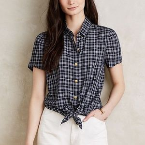 Anthro Button Down Tie Front Blouse Navy Checker